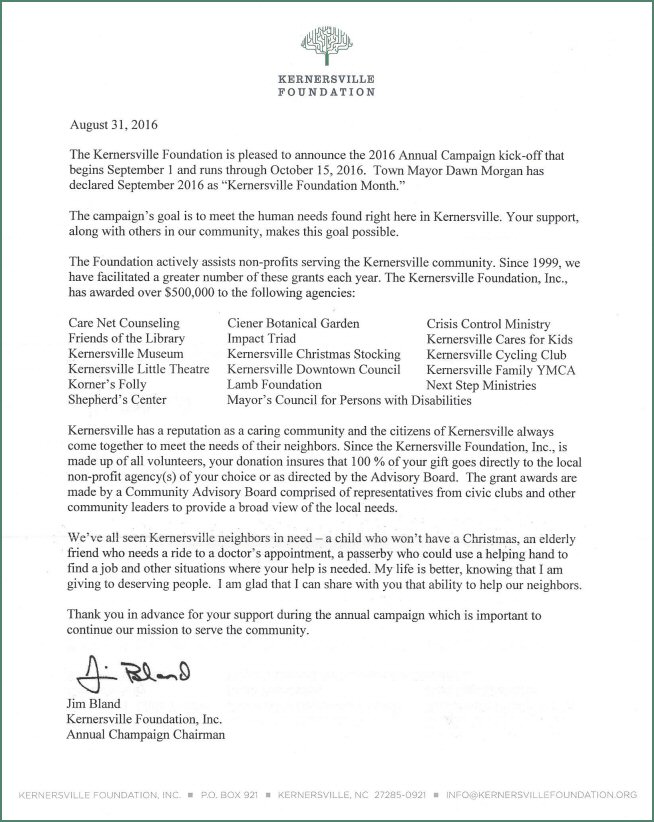 2016 Foundation Letter
